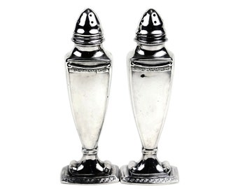 Vintage Salt & Pepper Shakers, Viking Silver Plate, Greek Fret Pattern