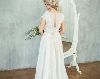 Beautiful wedding dress ESA with exquisite fine golden decor / Boneless, high neck wedding dress, boho wedding dress, light wedding dress