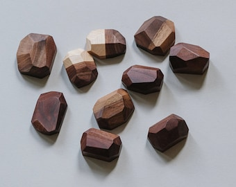 Geometric Wooden Fridge Magnets in Walnut / Maple