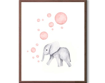 Baby Girl Gift, Kids Room Art, Baby Elephant, Baby Animals, Watercolor Wall Art, Elephant, Art Print - E505W