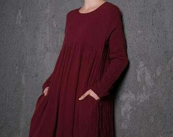 Long sleeve dress, elegant dress, casual dress, loose fit dress, summer dress, long linen dress, burgundy dress, woman dresses  (C496)