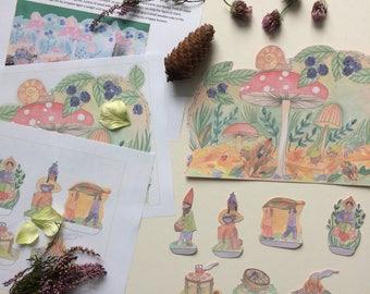 PDF Nature Table Autumn Fall Scene - Waldorf Homeschool Gnomes Elves Family Woodland Scene