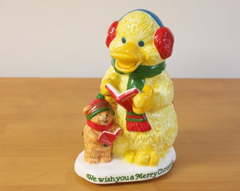 Vintage 1988 Christmas Music Box Duck And Bear Caroling - We Wish you a Merry Christmas CIJ Christmas in July
