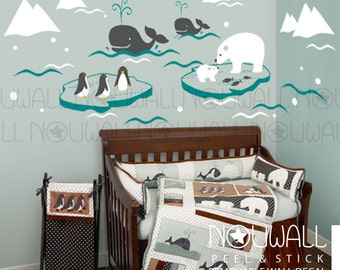 Nursery baby kids Wonderful Arctic iceberg polar bear whale Penguin Narwhal Walrus Seal Wall Decal Wall Sticker - dd1038 & Top Selling Nursery and Home Wall Decals on Etsy by NouWall