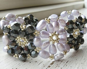 25% OFF - Beautiful handmade bracelet with lilac fresh water pearls and hematite faceted glass bead flower motifs