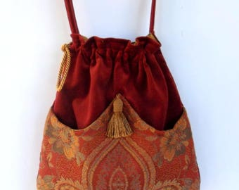 Brick Red and Gold Jacquard Tapestry and Velvet  Boho Bag  Drawstring Bag  Brick Red Velvet Bag  Bohemian Bag  Crossbody Purse
