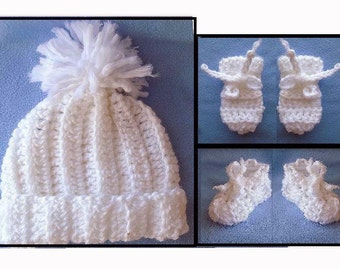 CROCHET BABY PATTERN - 3 piece set of Hat, Booties, Mittens; 3 sizes from newborn to 12 months - #764