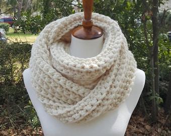 Chunky Infinity Scarf, Knit Infinity Scarf, Crochet Infinity Scarf, Cowl - in Fisherman
