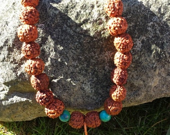 28-bead Mala prayer meditation beads ,  Large Sacred Rudraksha (14mm)beads & Chrysocolla,yoga, boho,Buddhist,User friendly mala,Angel,reiki