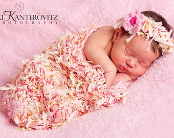 Baby Girl - Baby Cocoon - Beautiful Textured Newborn Baby Cocoon and Headband with Flower Clip - Other Colors Available