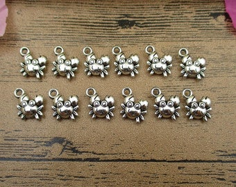 30 Crab Charms,Antique Silver Tone Double Sided-RS562