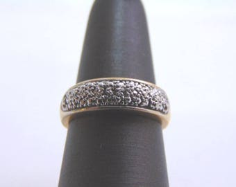 Vintage Estate 14k Gold Womens Diamond Chip Ring 2.9g #E792