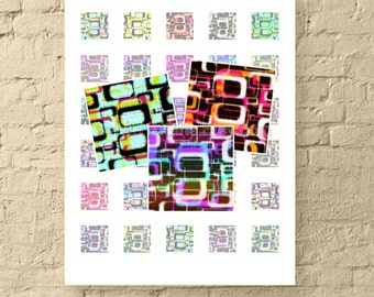 1 Inch Square Printable Digital Collage Sheet * Retro, Tie-Dyed, Abstract Art * Printable Images for Crafts * Instant Download