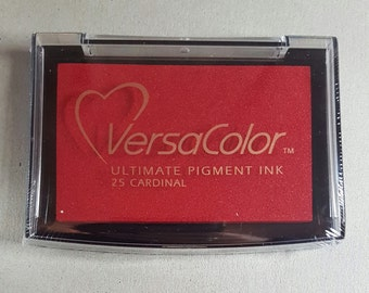 Red Ink Pad - VersaColor Pigment Ink Pad Large in Cardinal Ink for stamp - Red Ink Pad - Versa Color - Colour Ink Pad - Christmas Stamp