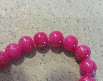10 fuchsia 8 mm glass beads