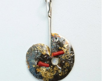 Rotten Apple, Red Coral & Moonstone, Oxidized Silver, Pendant