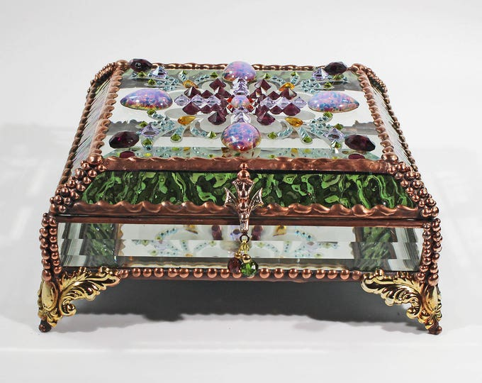 Jewel Encrusted 6x6 COPPER Jewelry Box