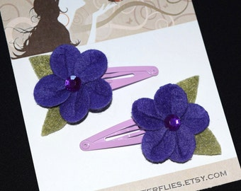 Tropical Purple Felt Flowers Snap Clips - Buy 3 Items, Get 1 Free