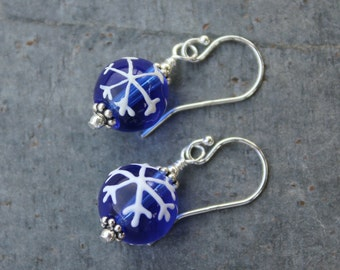 Cobalt Blue Snowflake Earrings- glass with painted white snowflakes, sterling silver hooks - free shipping USA - also avail in 14k gold fill
