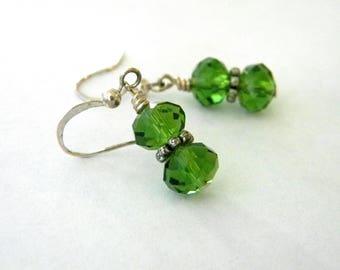Green Glass Earrings Dangle Earrings