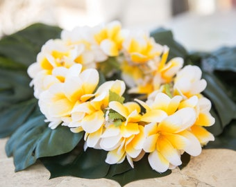 Deluxe SILK FLOWER HEADCROWN - White & Yellow Plumerias
