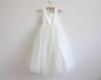 Light Ivory Flower Girl Dress Tulle Ivory Straps Baby Girl Dress Ivory Flower Girl Dress With Bow Floor-length