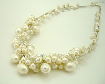 White freshwater pearl,clear crystal hand knotted on silk thread necklace.
