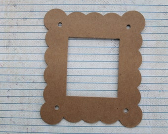 3 Bare chipboard Wide Scalloped Square Diecut Frames almost 4 3/8 inches wide