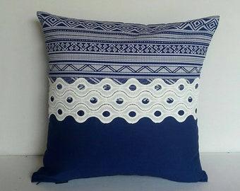 Navy blue pillow. Cotton vintage style pillow cover. Decorative pillow. Cottage decor. Blue and White stripe pillow 18x18, 20x 20  inches
