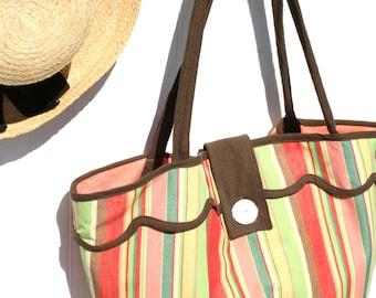 Large Striped Beach Bag - Retro Beach Bag - Creamsicle -Orange - Brown