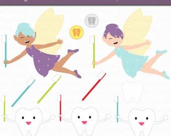 Tooth Fairy and Friends Digital Art Set Clipart Commercial Use Clip Art INSTANT Download Tooth Fairy Clipart Fairy Clipart