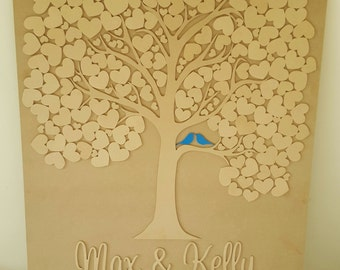 Wedding Guest Book Tree Board hearts alternative