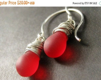 MOTHERS DAY SALE Drop Earrings. Wire Wrapped Frosted Lipstick Red Earrings in Silver. Dangle Earrings. Handmade Jewelry.