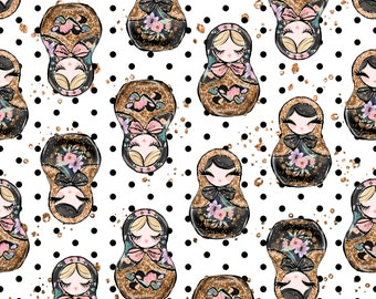 Russian doll fabric polka dot fabric cotton fabric quilting fabric fabric by the yard knit fabric doll fabric russian nesting doll jersey