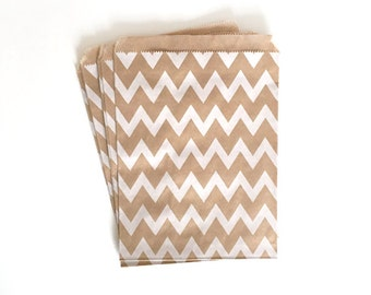 kraft paper bags - party treat bag - wedding favor bags - flat paper bag - gift bags - kraft paper bags - chevron bags - set of 10 bags