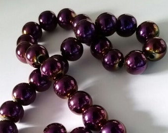 20 Hematite Dark Purple Blue and Gold Plated Beads 10mm Jewelry Supplies HDPGB10-20BD1-28