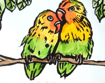 Love Birds, Limited Edition, Mounted, Original Print