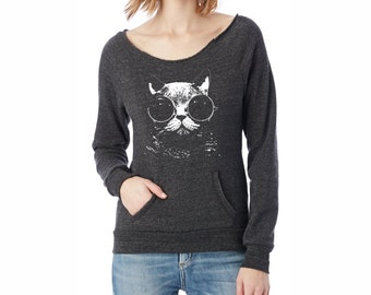Cat Shirt | Off the Shoulder Sweatshirt, Kangaroo Pocket, Cat Sweatshirt, Alternative Apparel