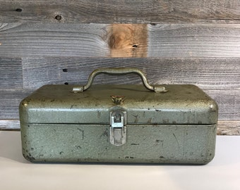 My Buddy TACKLE BOX- Industrial Metal Tool Box- Light Green- Art Supply Box Organizer- Vintage Industrial Carrier