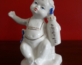 Vintage Capodimonte Baby Boy Shower Cake Topper