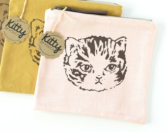 Sale! Meow Deluxe | Cute Cat Zipper Pouch | Peach/Ochre/Brown | Screen Printed