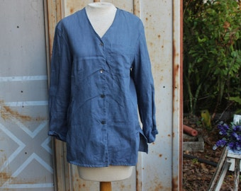 90s Periwinkle Blue Linen Blouse | Button Down | Minimalist | Loose Fit | Cropped Sleeves | Front Pocket - XS/S