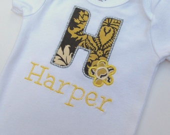 Personalized Embroidered Initial Bodysuit -Embroidered Infant Bodysuit- Appliqued Bodysuit
