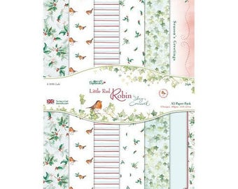 """Set of 24 paper two pockets """"Dovecraft Papermania"""" LITTLE RED ROBIN"""