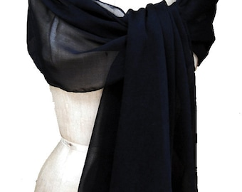 Navy Dark XL Chiffon Shawl Wrap