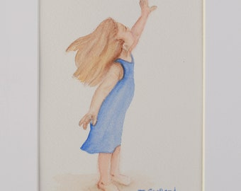 Original Watercolor Reaching Child