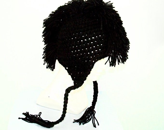Black Mohawk Ear Flap Hat Handmade Accessory Gift