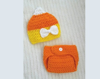 Candy corn hat, newborn photo prop, baby girl gift, hat and diaper cover set, baby shower gift, 0-3 month baby gift, baby girl hat, crochet