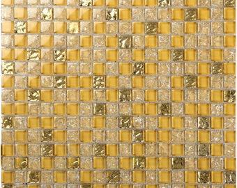 Crackle Crystal Backsplash Tile Modern Wall Borders Gold Glass Mosaic Sheets Ice Cracked Cheap Decorative Tiles