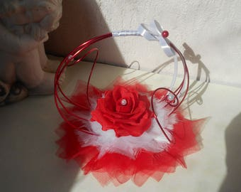 Original ring pillow - red and white with red rose